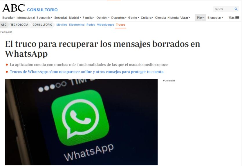 El truco para recuperar los mensajes borrados en WhatsApp